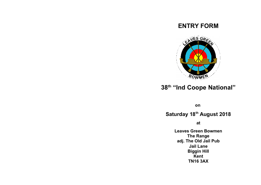 Ind Coope 2018 - Entry Form